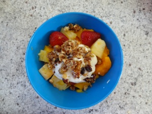 Tropical Fruit Salad with Organic Yoghurt & Homemade Muesli