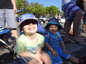 The boys waiting for the ANZAC Day Parade last year